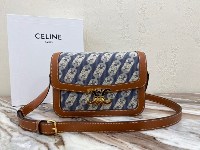 CELINE TRIOMPHE BAG IN TEXTILE AND NATURAL CALFSKIN 18888 Brown