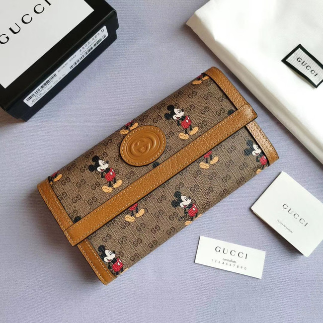 Gucci Disney x continental wallet 602530 brown