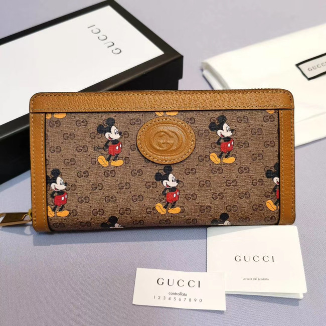Gucci Disney x zip around wallet 602532 brown