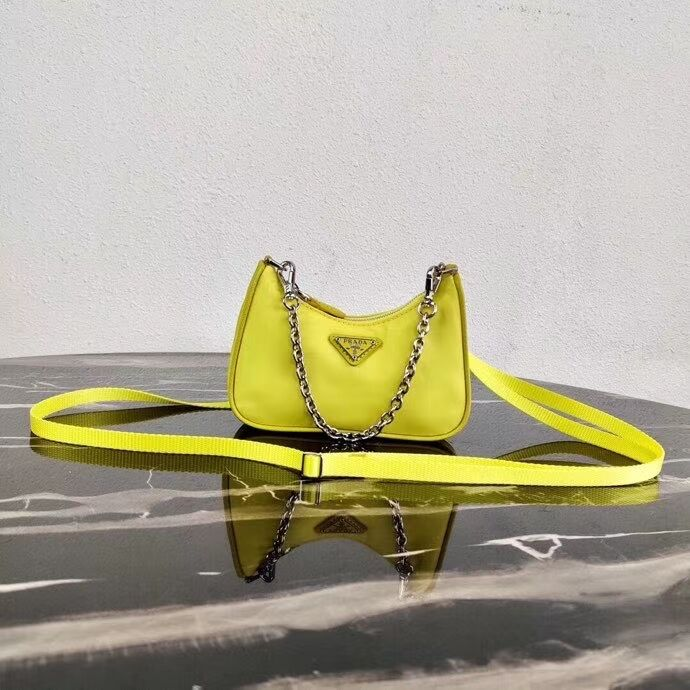Prada Re-Edition nylon mini shoulder bag 1TT122 yellow
