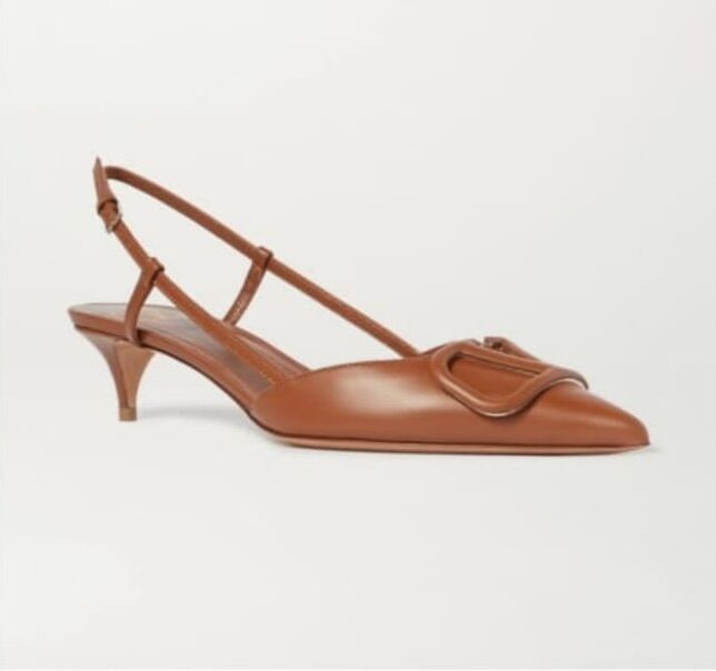 Valentino Garavani Leather Sandal Shoes V80777 Brown