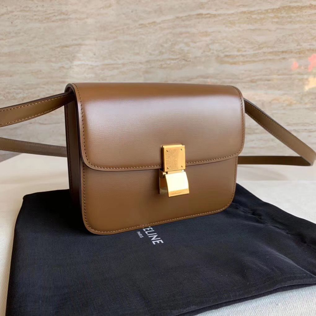Celine Classic Box Teen Flap Bag Original Calfskin Leather 3379 Brown