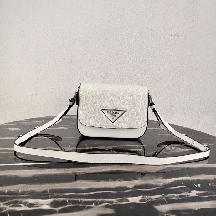 Prada Saffiano leather mini shoulder bag 2BD249 white