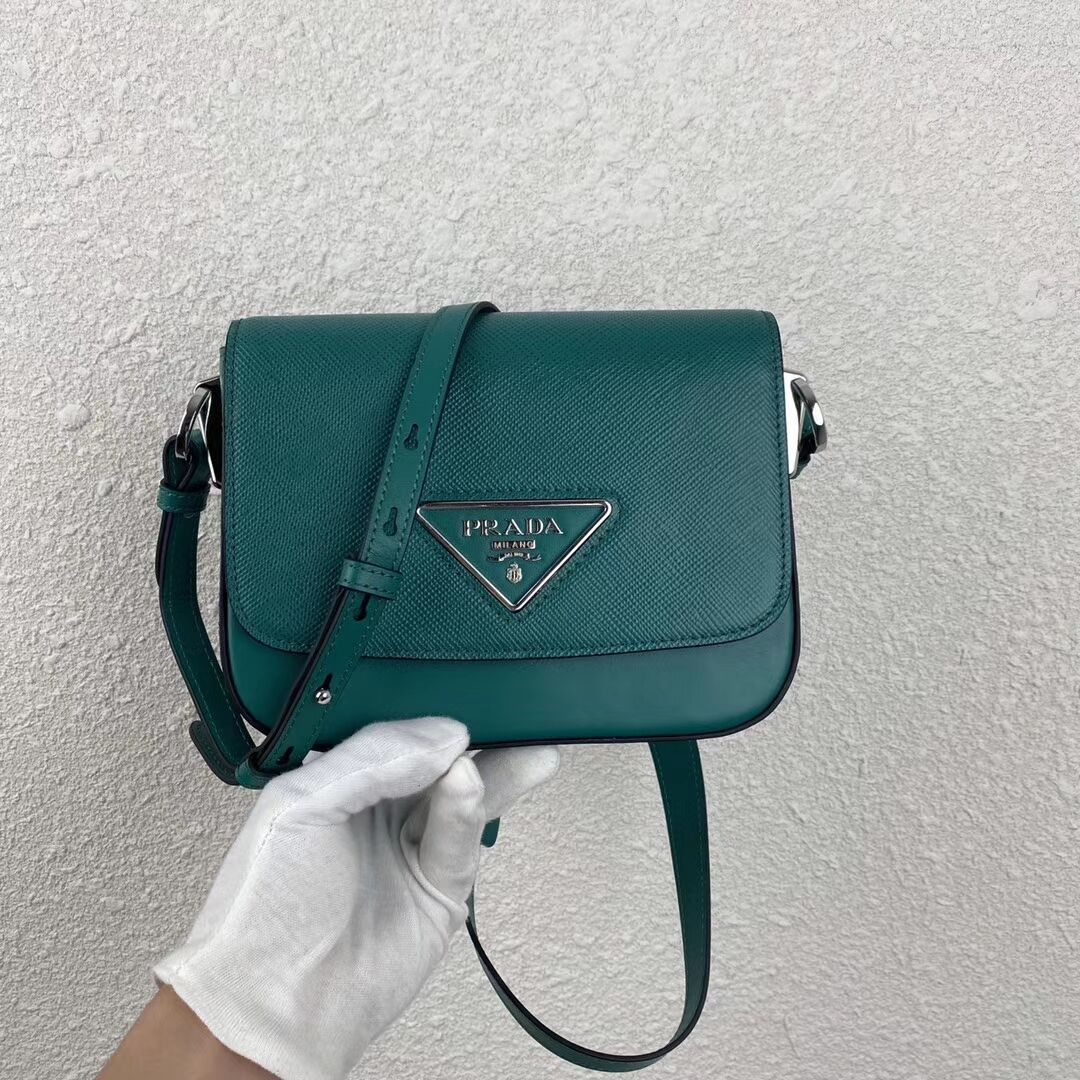 Prada Saffiano leather mini shoulder bag 2BD249 green