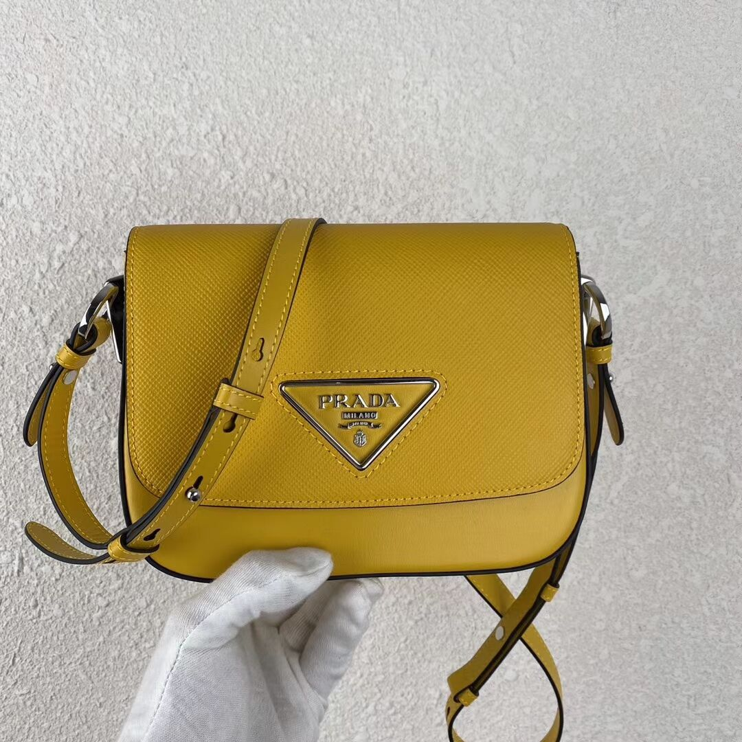 Prada Saffiano leather mini shoulder bag 2BD249 yellow