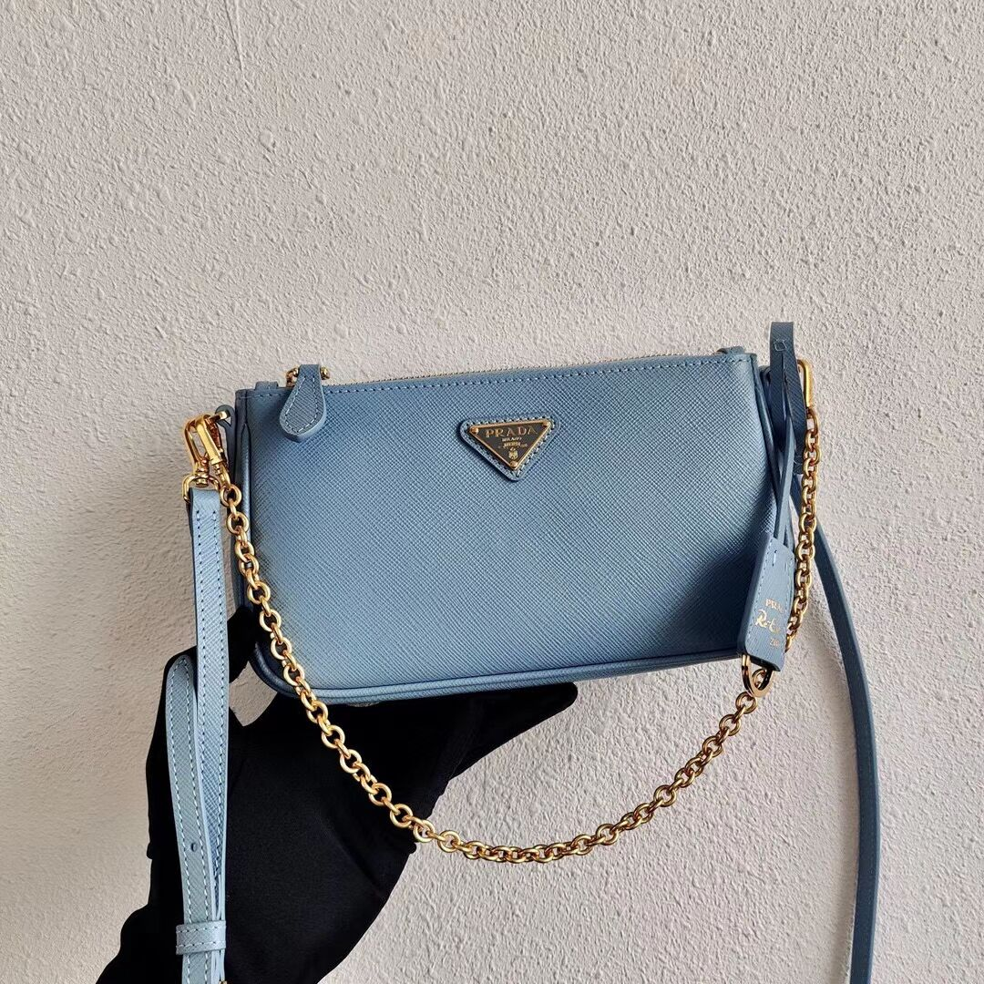 Prada Saffiano leather mini shoulder bag 2BH171 sky blue