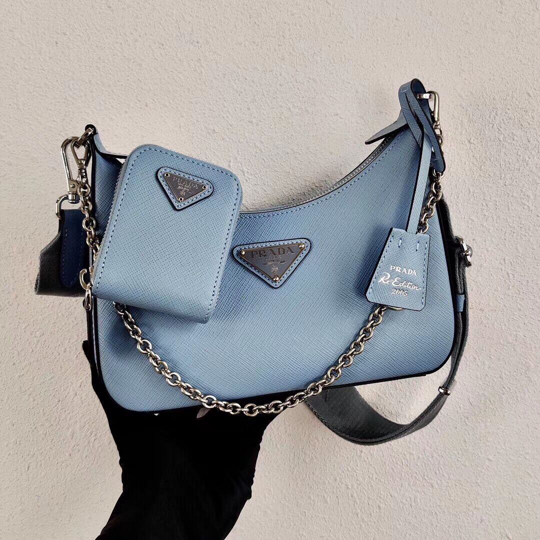 Prada Saffiano leather mini shoulder bag 2BH204 sky blue