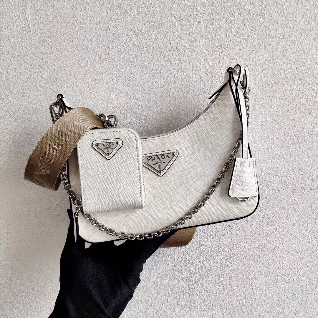 Prada Saffiano leather mini shoulder bag 2BH204 white