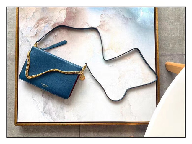 GIVENCHY leather and suede shoulder bag 9337 blue