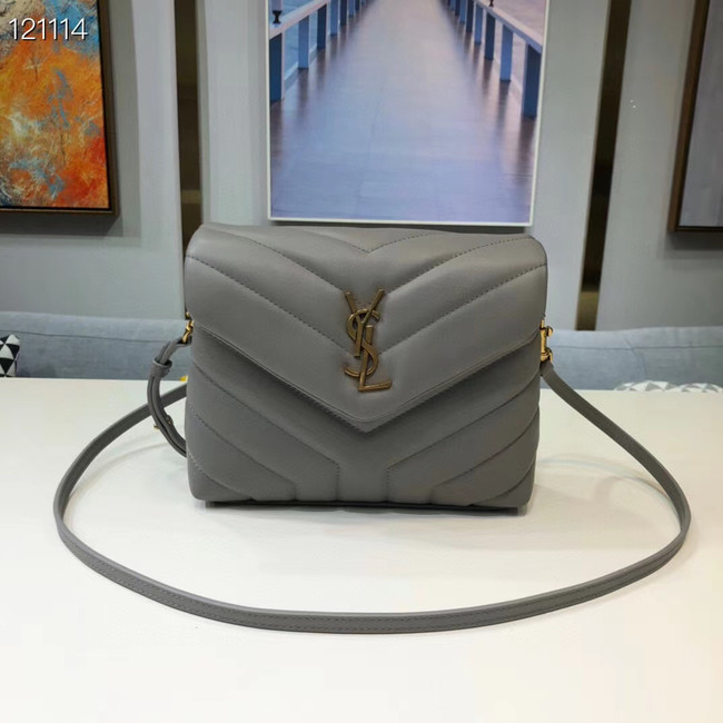 Yves Saint Laurent Calfskin Leather Tote Bag 467072 grey