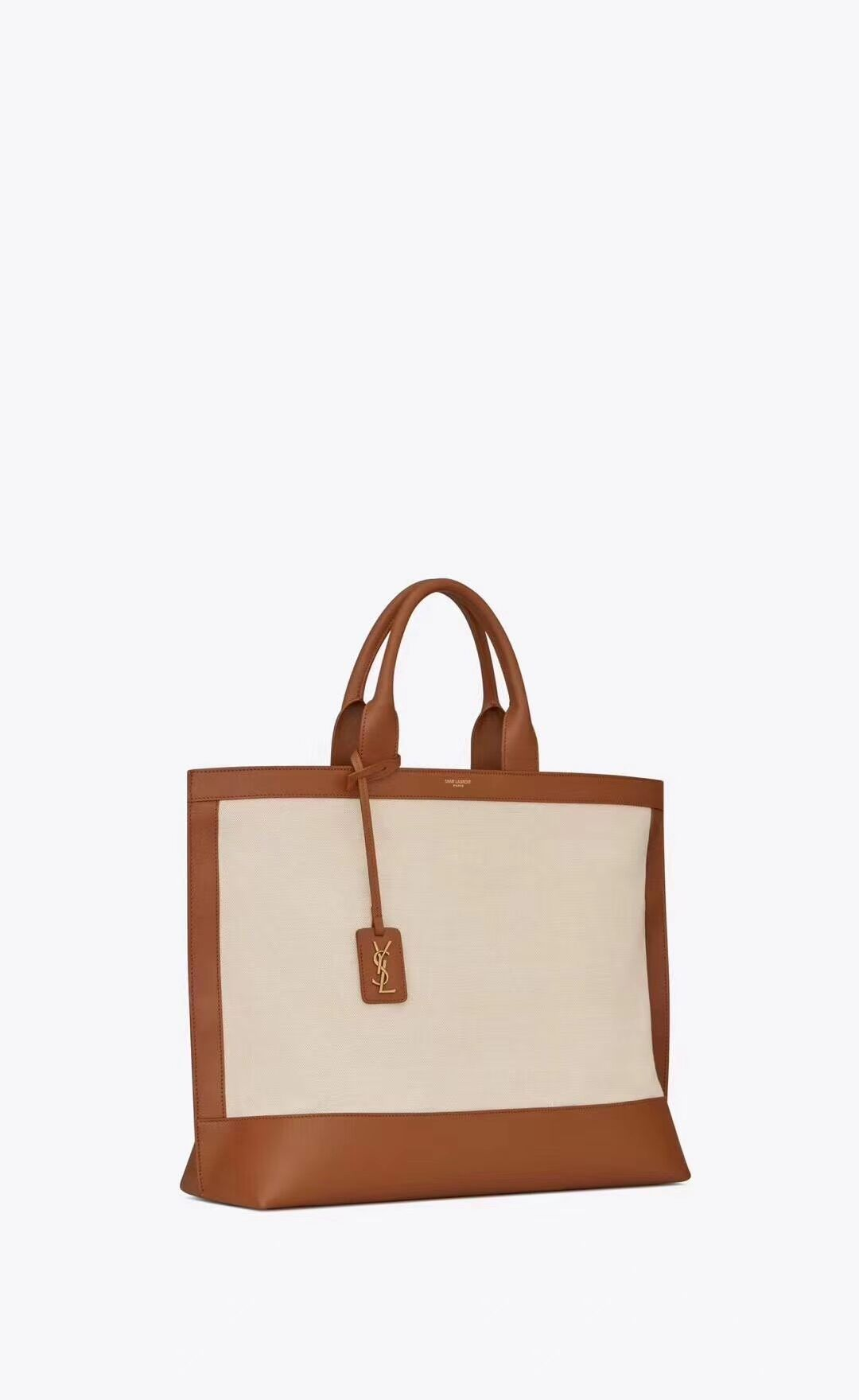 Yves Saint Laurent SHOPPING TAG IN CANVAS AND LEATHER Y615719 brown&white