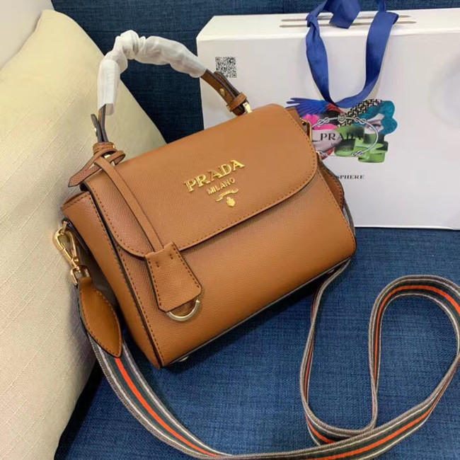 Prada Calf skin tote 1BD071 1BD209 brown