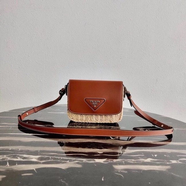 Prada Saffiano leather mini shoulder bag 1BD043 brown