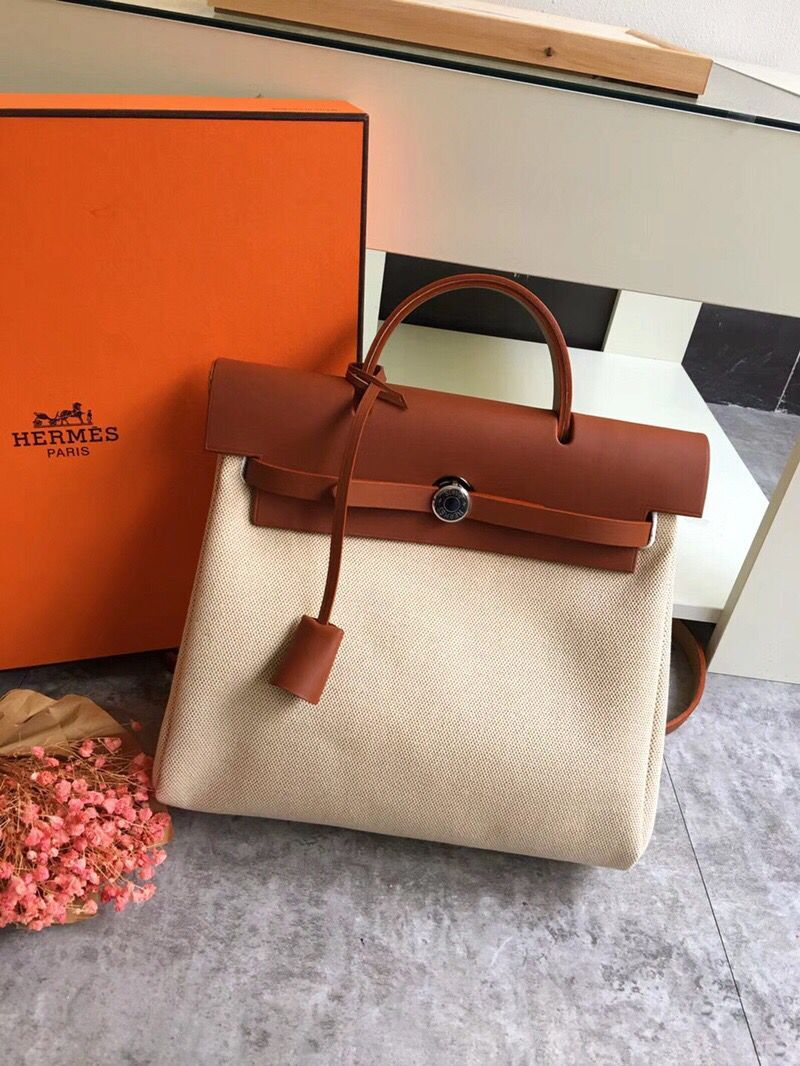 Hermes Herbag 31CM Original Canvas Leather & Calfskin 45987 brown&white