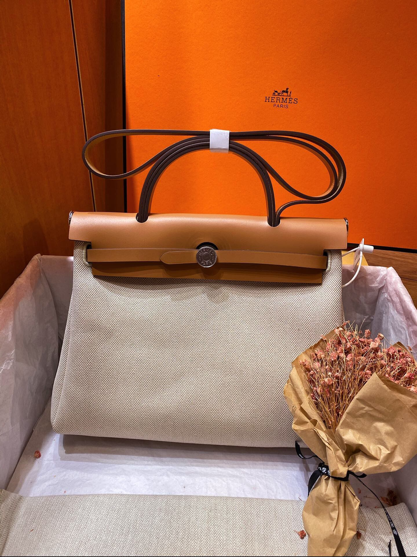 Hermes Herbag 31CM Original Canvas Leather & Calfskin 45988 brown&white