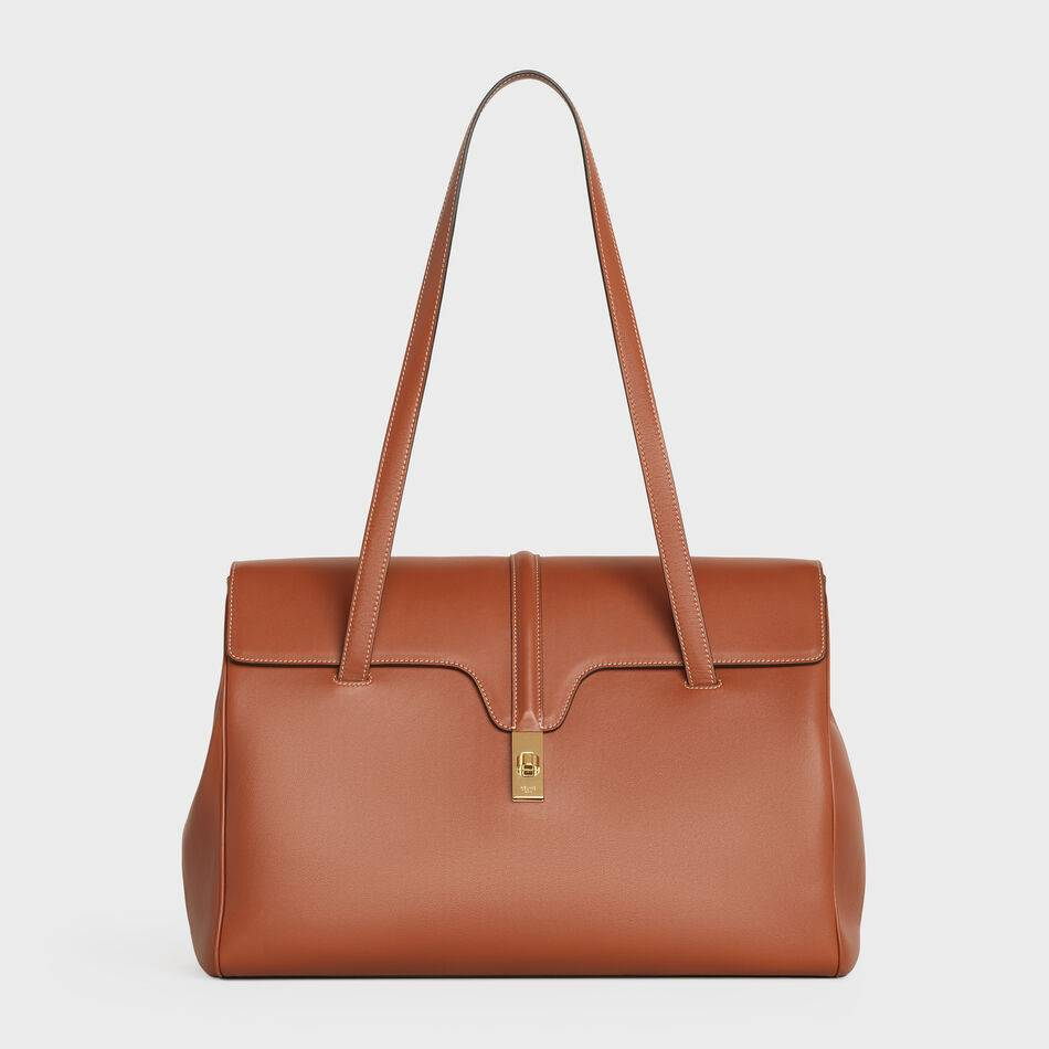 Celine LARGE SOFT 16 BAG IN SUPPLE GRAINED CALFSKIN 194043 Brown