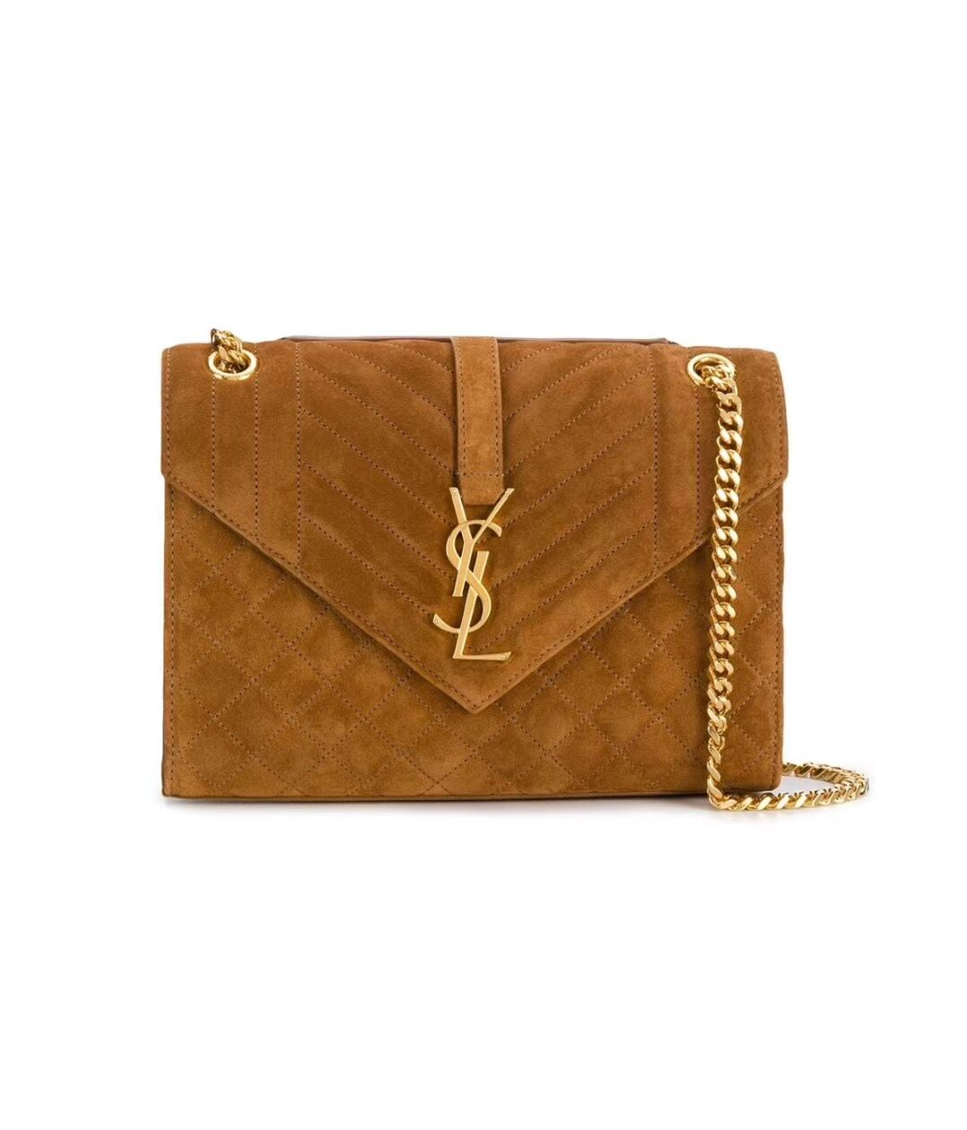 YSL ENVELOPPE MEDIUM BAG IN MIX MATELASSE GRAIN DE POUDRE EMBOSSED IN SUEDE Y487206 brown