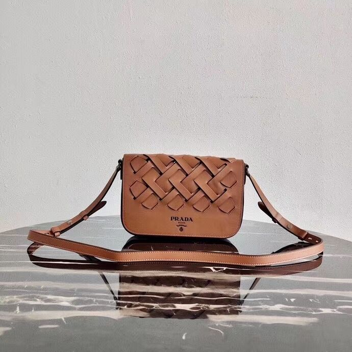 Prada Leather Prada Tress Shoulder Bag 1BD246 brown