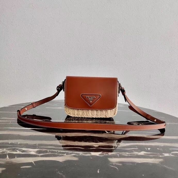 Prada Saffiano leather mini shoulder bag 2BD043 brown