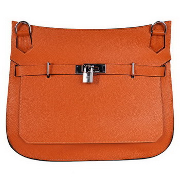 Hermes Jypsiere 34CM Shoulder Bag Silver Hardware Orange