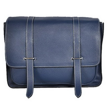 Hermes Steve 32CM Mens Bag Clemence Dark Blue