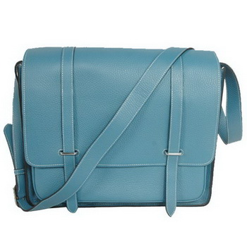 Hermes Steve 35CM Messenger Bag Clemence Leather Blue