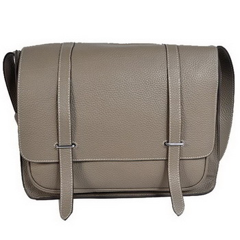 Hermes Steve 35CM Messenger Bag Clemence Leather Grey
