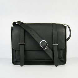 Hermes Jypsiere Togo Leather Messenger Bag H2810 Black